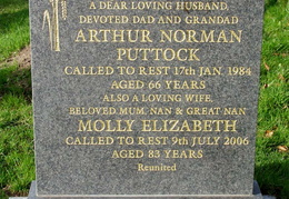 PUTTOCK Arthur Norman died 1984 and Molly Elizabeth die 2006