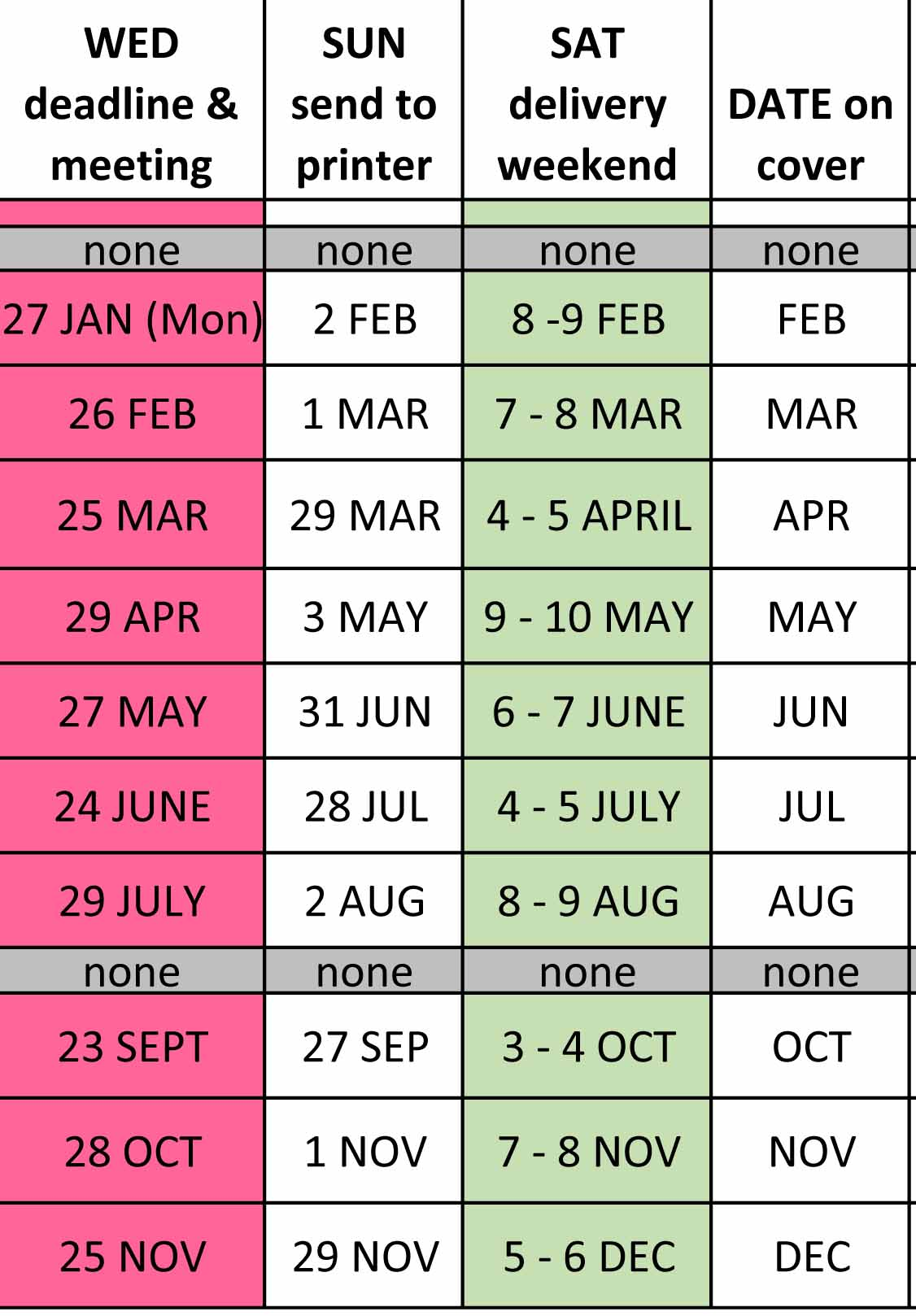 TIMETABLE chart OF DEADLINE DATES FLYER 2020
